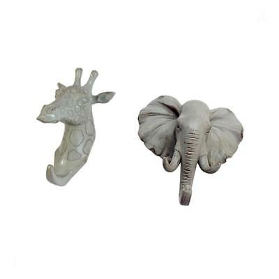 Pack of 2 Coat Hook Elephant Giraffe Wall Sculpture Vintage Antique Style