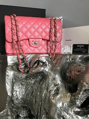 c71999579f30 NWT CHANEL 2018 18S PINK CAVIAR JUMBO Classic Double Flap NEW Gold ROSEY  PINK