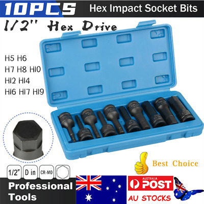 10pcs1/2'' Hex Drive Deep Impact Metric Sockets Set Bits Long Auto Repair Tools