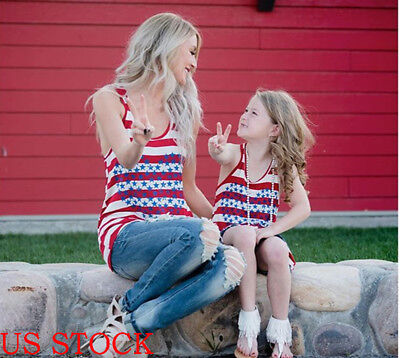 Mother Daughter Matching Clothes Mom Girl Striped Dress Tops T-shirt Tee Outfits