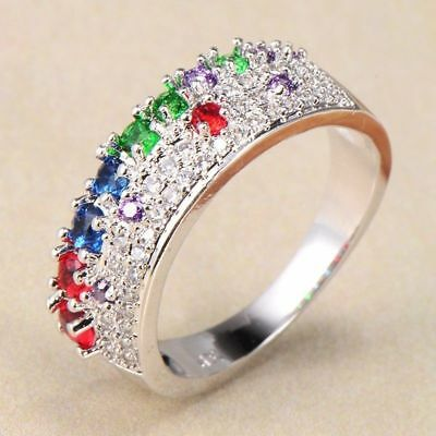 Dazzling Women 18K White Gold Filled Colorful cubic zirconia Wedding Bands ring