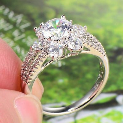 Dazzling 18k White Gold Filled Flower Cubic Zirconia Wedding Band Ring For Women