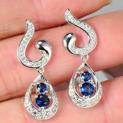 Fashion 14K White Gold Filled 6 Color cubic zirconia Women Dangle Stud Earrings