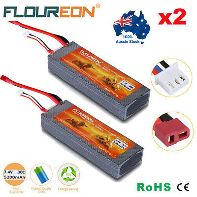 2x 7.4V 5200mAh 2S 30C Lipo Battery Hard Case Deans Plug for RC Car Airplane Lot