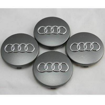"4X Audi Gray Wheel Rim Center Caps 2.3"" 59Mm A3 A4 A5 A6 S4 S5 S6 Rs4 S7 Q3 Q7"