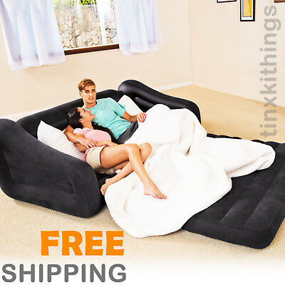 Queen Size Inflatable Mattress Air Bed Pull Out Sofa Couch Chair Blow Up Seat