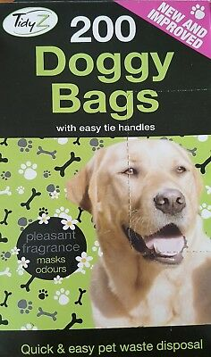 Doggy Bags 200 Tie Handles Fragranced Black 26Cmx29Cm Pet Waste Disposal 2 Packs