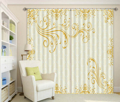 Elegant Yellowish Lace 3D Curtain Blockout Photo Printing Curtains Drape Fabric