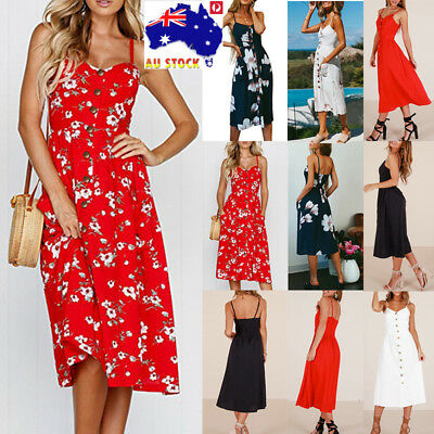 Plus Size Summer Women Floral Midi Dress Cocktail Party Holiday Beach Sundress