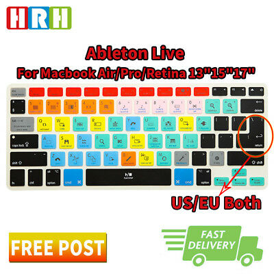 Ableton Live Hot key Silicone Keyboard Cover Skin For MacBook Air Pro 13 15 17
