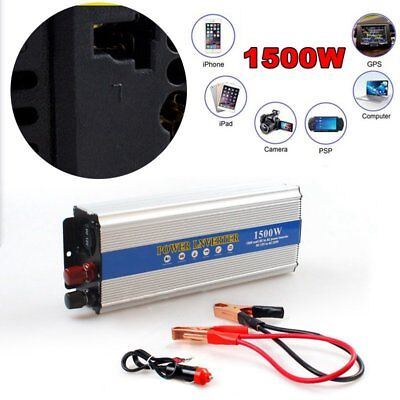 1500W Auto Inverter Car DC 12V to AC 110V Modified Power Converter Sine Wave USB