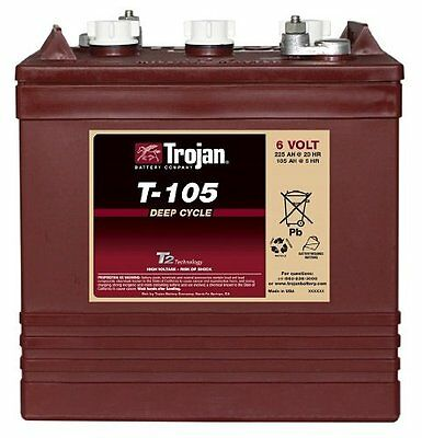 TROJAN T-105 GC2 6V 225Ah Deep Cycle Flooded Lead Acid Battery ... on