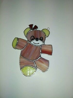 stained glass Teddy bear hand crafted beautiful sun catcher