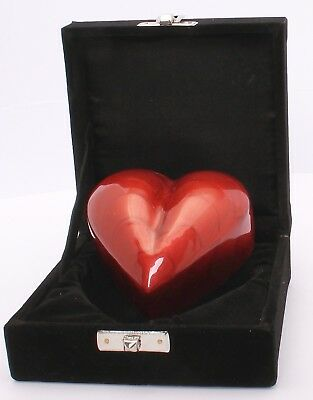 Small heart cremation urn for ashes funeral memorial Mini red keepsake with box