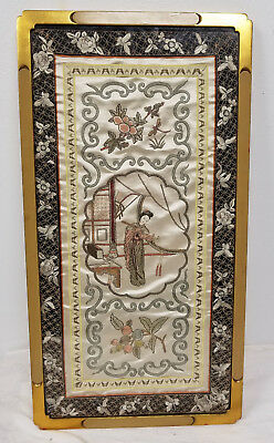 Antique Chinese Embroidered Embroidery Robe Panel Sleeve Decorative Silk VIntage