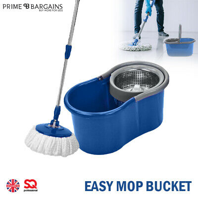 Floor Mop Microfiber Spinning Easy Magic Spin Mop W/Bucket 2 Heads Rotating 360°