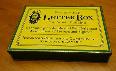 RARE Antique Vintage See & Say LETTER BOX Tin Native American IROQUOIS NY USA