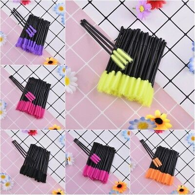 ( 50 Pcs ) Silicone Head Disposable Mascara Wands Eyelash Brushes Lash Extention