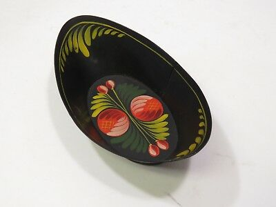 Small Antique Vintage Tole Toleware Painted Metal Trinket Bowl Dish Signed Dated