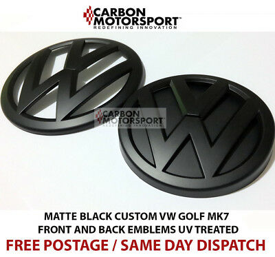 VW Golf MK7 2013 On Matte Black Front Rear Boot Badge Emblems GTI GOLF R GT TDI