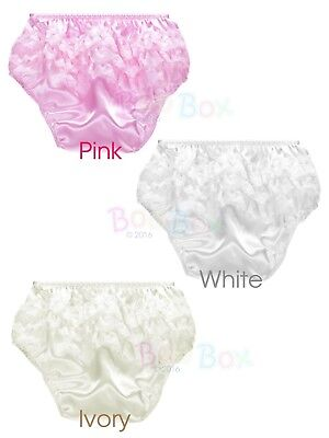Baby Girls Satin Frilly Knickers Christening Special Occasion 0-12 Months