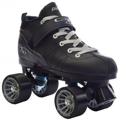 Black Pacer Mach-5 GTX500 Quad Speed Roller Skates w/ 2 Pair of Laces (Gray...