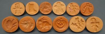 Lot 12 Rycraft Terra Cotta Cookie Press Stamp Christmas Jack-o-lantern Stork