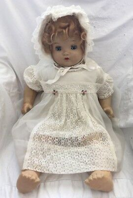 """Vintage Large Antique Composition BABY DOLL Unmarked Cryer 24"""" Blue Tin Eyes"""