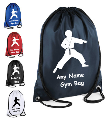 Personalised Drawstring Bag School Gym kit Martial Arts Karate Judo Taekwondo