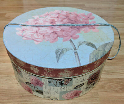 "Large Vintage Hat Box Wig Scarf Holder 15"" Flower Pattern Pretty Retro Accessory"