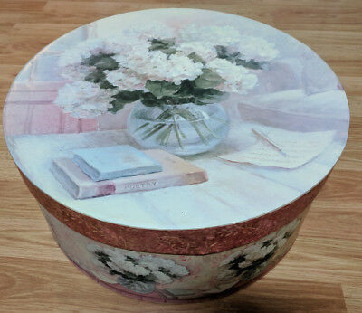 "Large Vintage Hat Box Wig Scarf Holder 16"" Flower Pattern Retro Pretty Accessory"