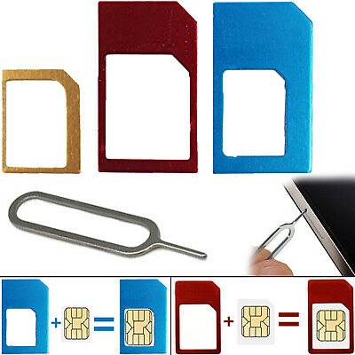 Mini-Micro-Nano Metal Sim Card Adapter With Sim-Card Tray Eject-Pin