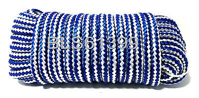 """(1) White/Blue Braided Poly 3/8"""" in x 50' ft Boat Marine Utility Line Rope Cord"""