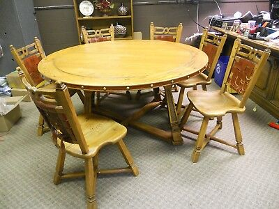 "Mid Century Modern Romweber Viking Oak 60"" Round Table with 6 Chairs Craftsman !"