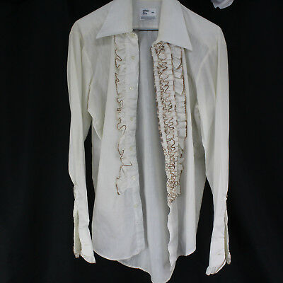 Vintage 1970s After Six M4 Polyester & Cotton Men's Ruffle Tuxedo Shirt Free S&H