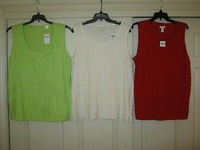 Lot Of 3 New Chicos Tank Tops Sleeveless Shirts Blouses Red White