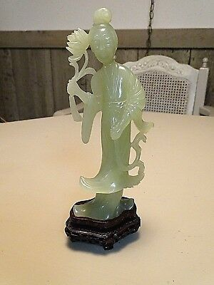 Chinese Vintage carved jade stone Quan Yin Lady Statue Figurine on pedestal