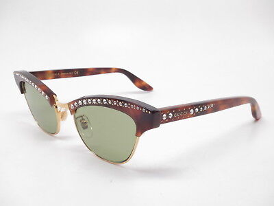 aa47a3754f73 New Authentic Gucci GG0153S 003 Havana/Gold with Green lens Sunglasses GG  0153S