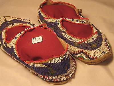 Native American Beaded Leather Moccasins.......lg. Full Leather Bottom Pair!!