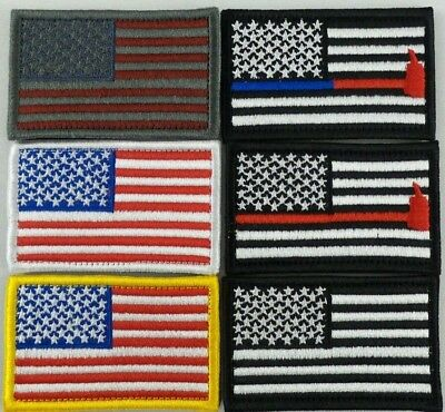 American Flag Embroidered Patch Fire Police Support USA US Hook & Loop
