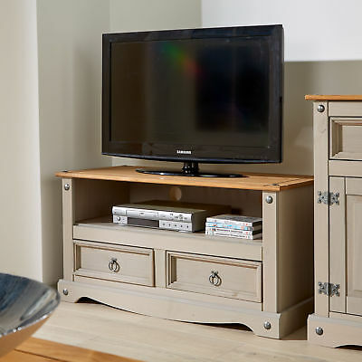 5dc91f5d083 Corona Grey Two Tone TV Stand 2 Drawer Televsion Cabinet Solid Wood Pine  Unit
