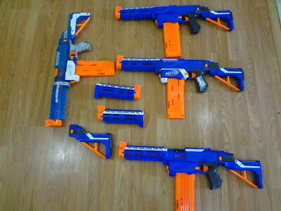 Large Lot of Nerf  Nstrike Retaliator Guns One Sonic Ice with Extras