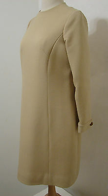 Vintage 60's Enid Morris Beige Poly Wool Blend Thick Dress With Dual Side Pocket