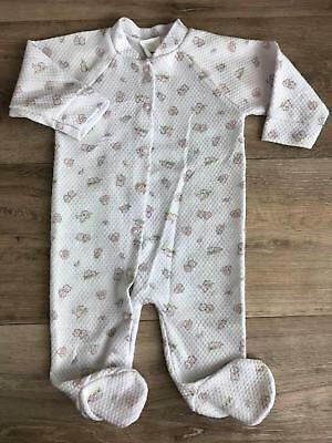 Vintage Gerber girls Size 3-6 M sleeper footed pjs White pink 100% Polyester