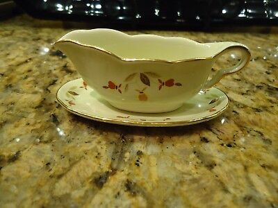 Jewel Tea Autumn Leaf Miniature 22K Gold Trimmed Gravy Boat & Under Plate 2Pcs