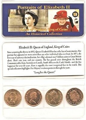 Queen Elizabeth II 4 Coin Set,Uncirculated With Holder And Story.