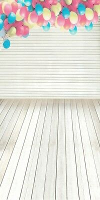 White Striped Wall Photography Backdrop Colorful Balloon Background Wooden Floor