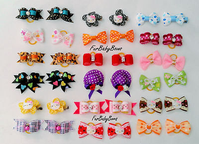100x PET Puppy grooming dog hair Bows bands clips Yorkie  Maltese 2 Free bows