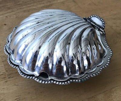 POLISHED England made SILVER PLATED CLAM SHELL SOAP DISH &!SUGAR DISH F & JL