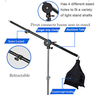 Adjustable Photography Studio Light Stand Boom Arm with Swivel Tripod Clamp&Bag